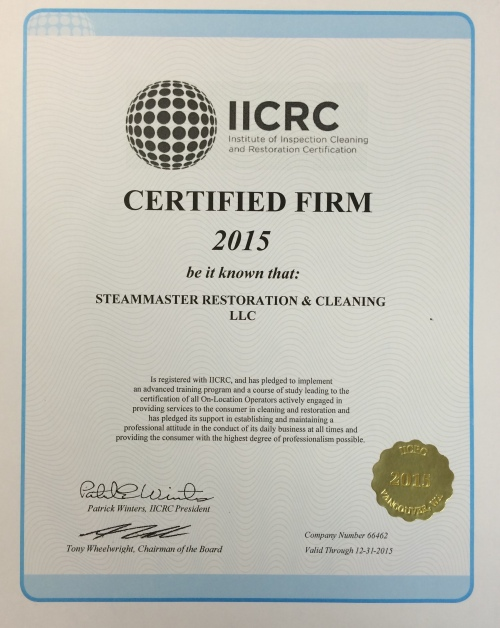 SteamMaster is an IICRC Certified Firm